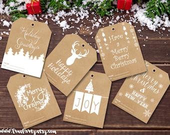 Christmas Gift Tags Holiday Tags Christmas Labels Kraft Card Tags Crochet Label Present Tags Reindeer Christmas Tags Set of Kraft Cards Xmas