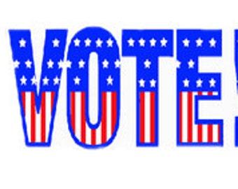 Vote digital embroidery design, Vote digitized embroidery design