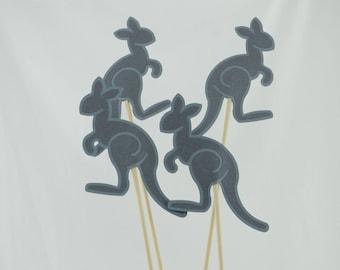 Kangaroo Party Centerpieces, Kangaroo Theme, Kangaroo Shower, Kangaroo Baby Shower Theme, Set of 4, Light Grey and  Dark Grey