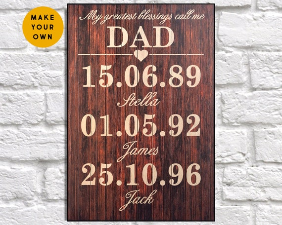 Personalized Wooden Sign For Dad with Children Birth Dates