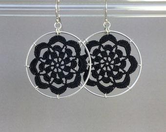 Serendipity doily earrings, black silk thread, sterling silver