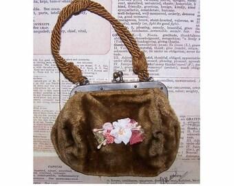 Antique, Edwardian, Doll, Coin, Purse, Pouch, Moss Gold, Velvet, Leather Interior, Cord Handle, Ribbon, Floral, Applique, Decoration