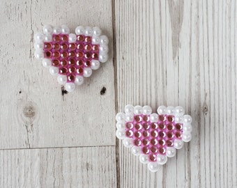 Pastel Pink Heart Hair Clips