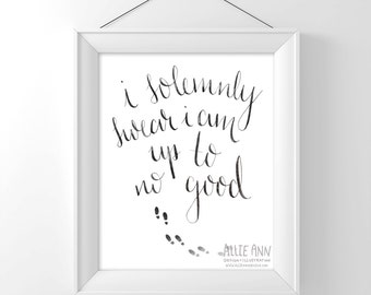 Harry Potter, I Solemnly Swear I Am Up To No Good, Marauder's Map, calligraphy, foot prints, art print, illustration, typography