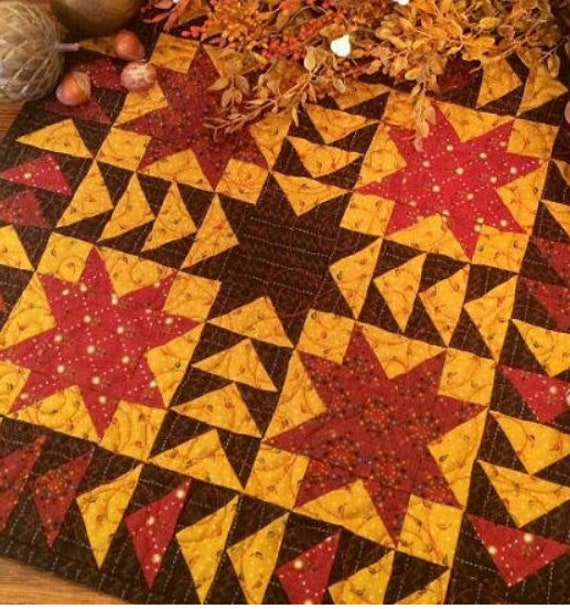 Harvest Stars Quilt Kit. Kim Diehl Simple Whatnots Club. Patchwork Sewing Primitive Style Cabin Decor for Table Topper or Wall Hanging