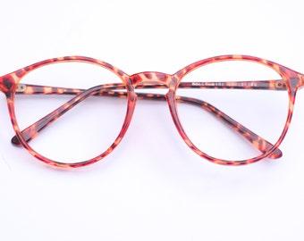 90s Vintage Retro Glasses Frames / Oversized Retro Eye Glasses / Tortoise Shell / Round Eyeglasses / Ideal Sunglasses / Gift For Her