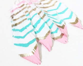 Cruelty Free Feathers, Bohemian Painted Feathers, Pink Teal Champagne Feathers, Feather Garland, Painted Feathers,