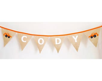 Personalised Burlap Hessian Digger  Construction Bunting Banner Flags
