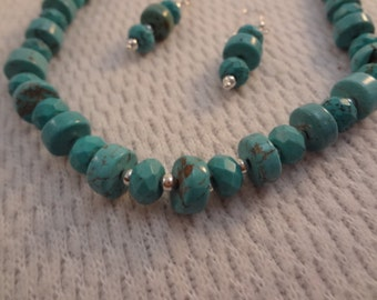 Stunning Genuine Turquoise and Silver Necklace and Earring Set - F053