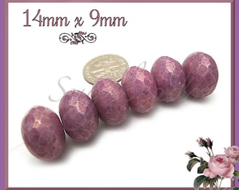 6 Big Purple Wild Berry Faceted Czech Rondelle Beads w Picasso Finish 14mm x 9mm CZN36