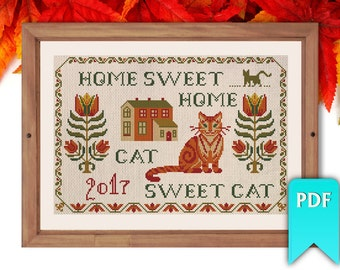 Home Sweet Home (Cat Sweet Cat) housewarming sampler cross stitch pattern. Instant download!