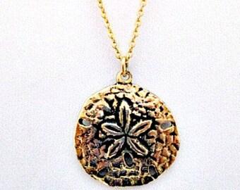 Sand Dollar Vintage Pendant Necklace with Sand Dollar Legend