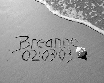 U Go PRINT black and white any message you'd like written in REAL beach sand, personalized JPEG download, sand writing, sand beach writing