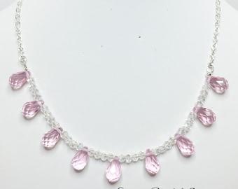 Pink Drop Crystal Wedding Necklace Bridesmaid Jewelry Pink Crystal Jewelry Wedding Set Bridesmaid Jewelry Baby Pink Necklace Jewelry Set