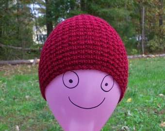 Winter Knitted Hat, Burgundy Toque, Winter Beanie, Skull Cap, Mens Beanie, Womens Hat, Teen Beanie, Hiking Hat, Warm Hat, Hiking Gift Idea