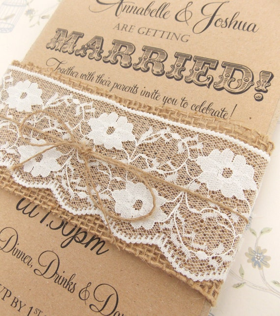 Rustic circus wedding invitation burlap and lace on kraft card like this item filmwisefo Image collections