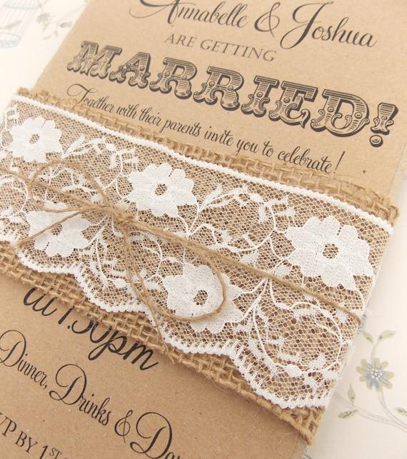 Rustic circus wedding invitation burlap and lace on kraft card filmwisefo