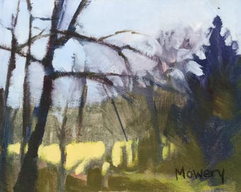 SALE Secret Heart 5x7 inches original framed acrylic painting of a distant golden field framed by bare trees by Maryland artist Barb Mowery