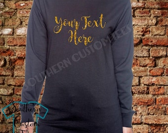 Design Your Own Shirt, Long Sleeve Tshirt,  Your Text Here Shirt, Glitter Tshirt, Personalized Glitter Shirt, Personalized Glitter T-Shirt