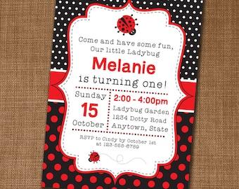 Ladybird invitation Etsy