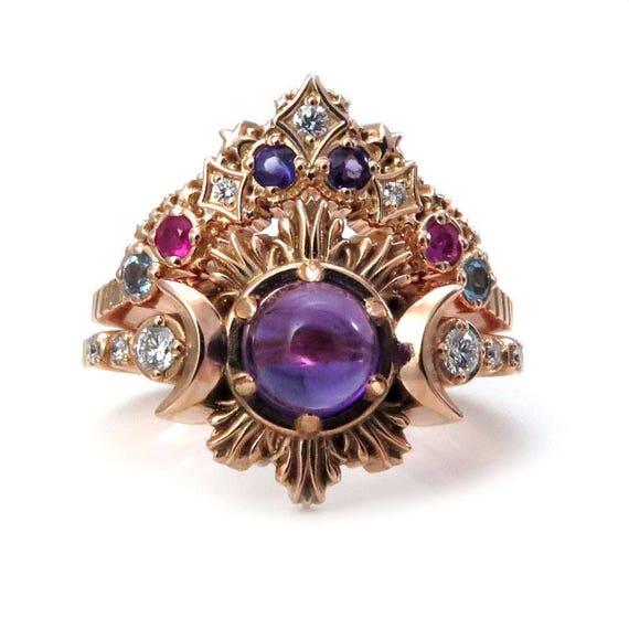 Amethyst Moon Fire Engagement Ring with Nebula Stardust Chevron - Boho Wedding Ring Set
