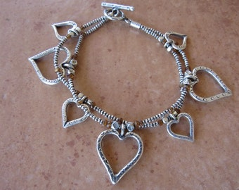 Heart Bracelet made with Hill Tribe Silver
