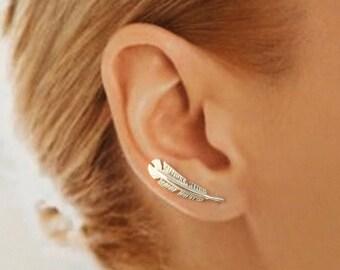 Sterling Silver EarWing, Ear Climber, TW43,Feather, Minimalist, Earring, Modern, Simple, Elegant
