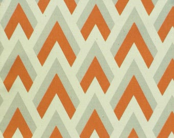 Orange and Gray Geometric Curtain Panels, Drapes in 24W or 50W x 63, 84, 90, 96 or 108L in Premier Prints Zapp