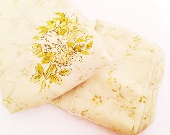 vintage full flat sheet // 1960's yellow floral // 60's linens bedroom bedding
