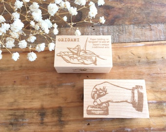 Japanese Wooden Rubber Stamps - Vintage Hand Stamps (Origami in Hand & Stamp in Hand) for Journaling, Scrapbooking, Packaging