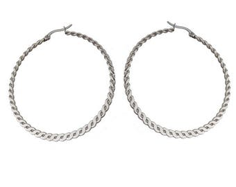 Twisited Silver Hoop Earrings