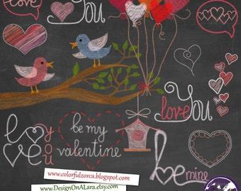 Valentine Chalk clipart, Chalkboard Valentine Clipart, Chalk Digital Clip Art Pack Valentine Wordart, Love clipart overlays, Love wordarts