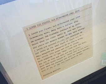 Hand-typed poem: I Loved you First by Christina Rossetti
