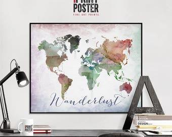 Wanderlust World Map Poster, World Map Wall Art, Map Of The World Art Print by iPrintPoster