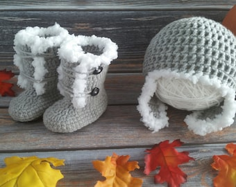 Crochet Baby Boot & Hat Set - Newborn Baby Boots - Crochet Baby Hat and Booties - Baby Girl Hat and Boots - Fuzzy Earflap Hat and Boots