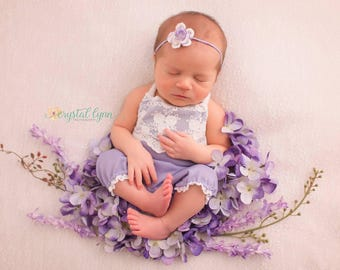 RTS BABY ROMPER: newborn lavender knit romper, baby, ready to ship, headband, photo prop, handmade, photography, for photo shoot, purple