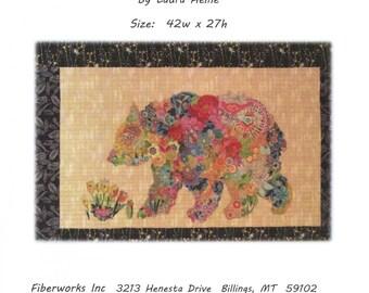 Paisley Bear -  Laura Heine  Pattern - Applique Quilt - Bear quilt - DIY Pattern Or Kit Option - full size reusable template pattern