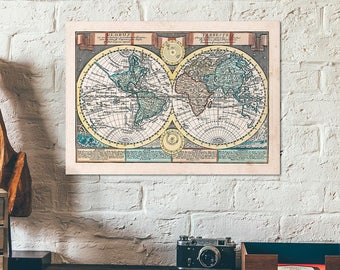 Worldmap antique map of the world 1923 original old double hand colored double hemisphere worldmap globus terrestris old antique map of the world gumiabroncs Gallery