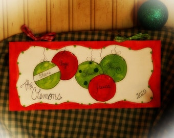 Personalized FAMILY Ornaments Christmas Plaque Door Wall Sign Gift