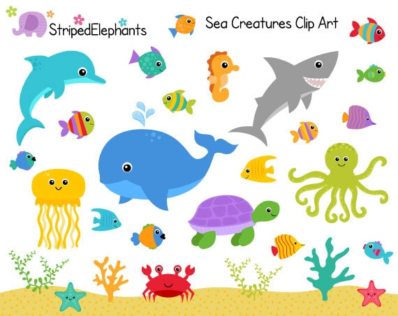 sea creatures clip art under the sea clipart ocean animals rh etsy com under the sea clip art border under the sea clip art border