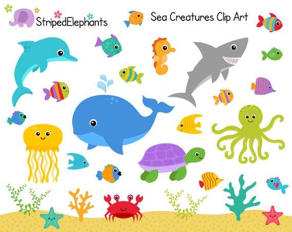 sea creatures clip art under the sea clipart ocean animals rh etsy com baby sea creatures clipart cute sea creatures clipart