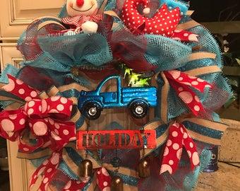 Little Blue Christmas Truck Deco Mesh Wreath