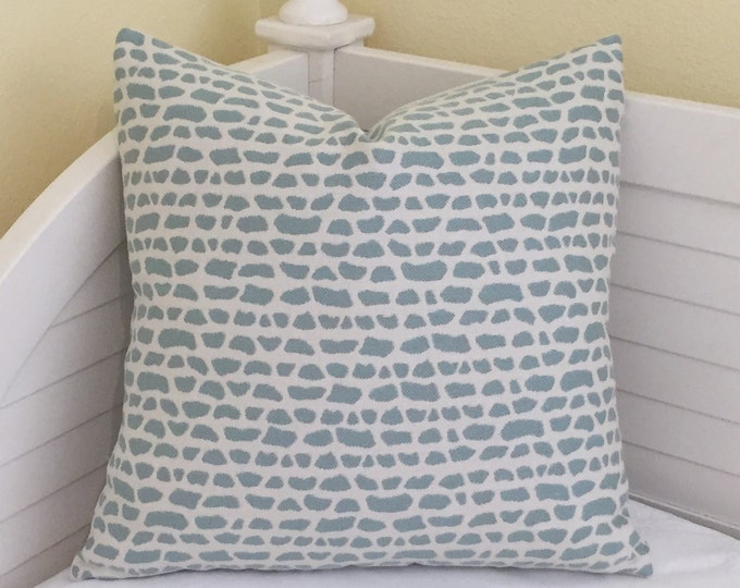 Aqua on Creamy White (on Both Sides) Indoor Outdoor Pillow Cover - Square, Euro and Lumbar Sizes