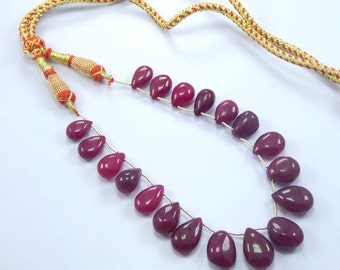 Holiday Sale 20% OFF 9.5'' 45 gram smooth Hot Red Quartz Briolettes Drops Necklace