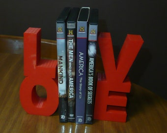 LOVE bookends DVDs Books bookshelf or photo prop picture engagement baby married home decor gift Choose a color 3D Print - Made in USA PR486
