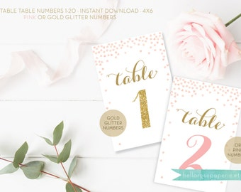 Table Numbers . Pink or Gold Glitter Numbers . Printable Table Numbers Bridal Shower Wedding . Digital Download . Tables 1-20 or 1-40