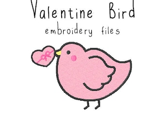 Valentine bird EMBROIDERY MACHINE FILES pattern design hus jef pes dst all formats holiday spring Instant Download digital applique cute