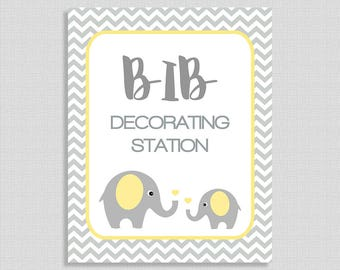 Bib Decorating Station Sign, Yellow Elephant Shower Table Sign, Grey Chevron, Neutral,  INSTANT PRINTABLE
