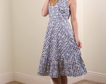 blue checked organic cotton dress