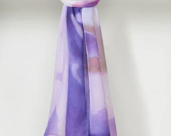 Handmade Wisteria Smooth Silk Chiffon Scarf in Purple Taupe by LOUIS JANE